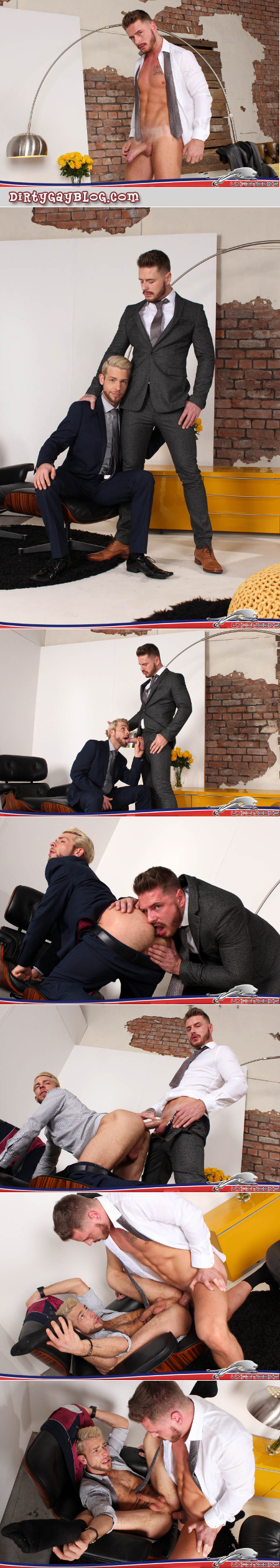 Young hairy men in suits with hard cocks fucking.