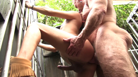 Daddy barebacking Latin boy outside.