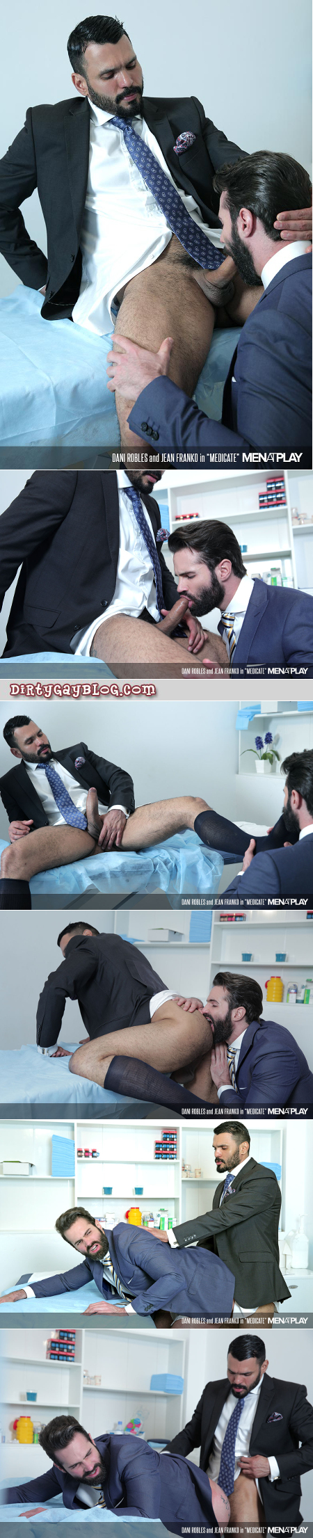 Hung Latino businessman fucking his male doctor in the ass with his thick uncut cock.