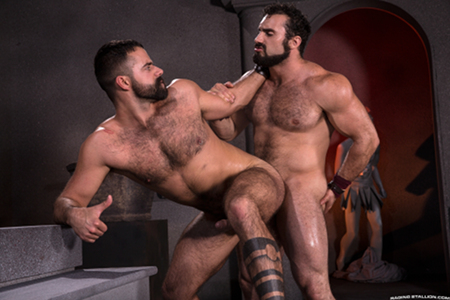 Hairy, muscular gladiators having gay anal sex.