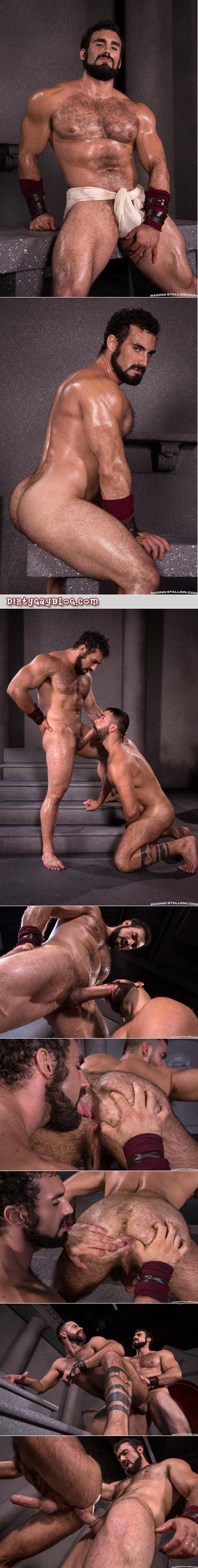Hairy muscle hunks nude having gay sex.