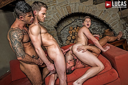Gay bareback group sex among tattooed muscular men.