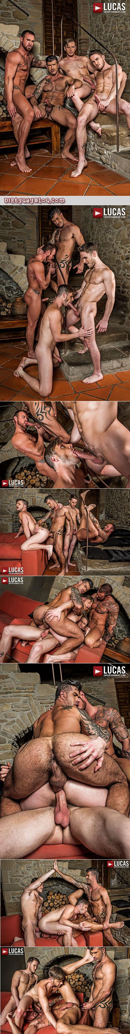 Muscular tattooed men having gay bareback group sex together.