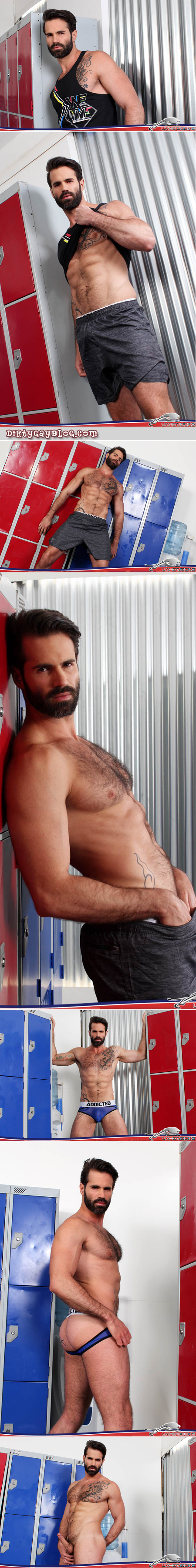 Hairy muscle stud strips in the locker room and plays with his erection.
