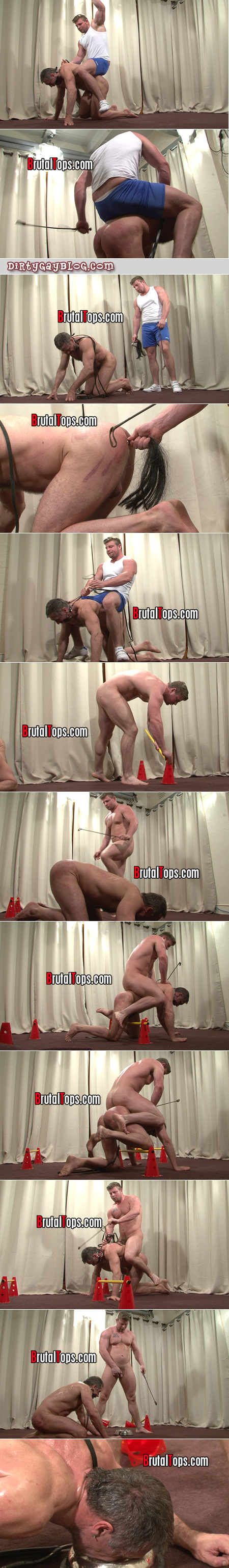 Blonde muscle stud turns a muscular silver Daddy into his donkey through gay BDSM.