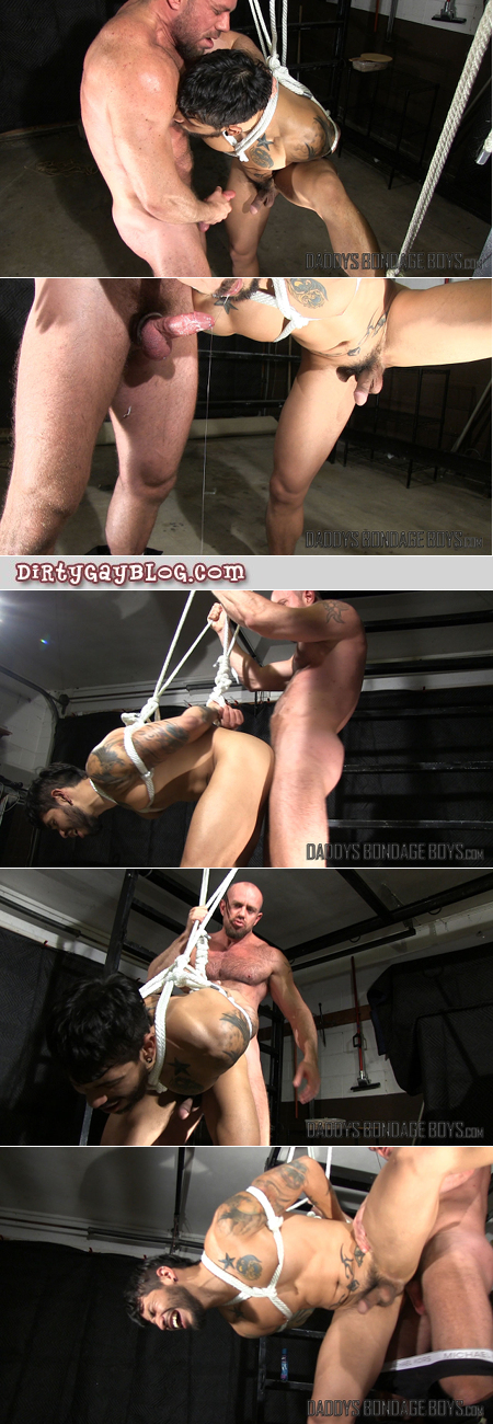 Hairy, muscular cop using gay bondage on a male offender.
