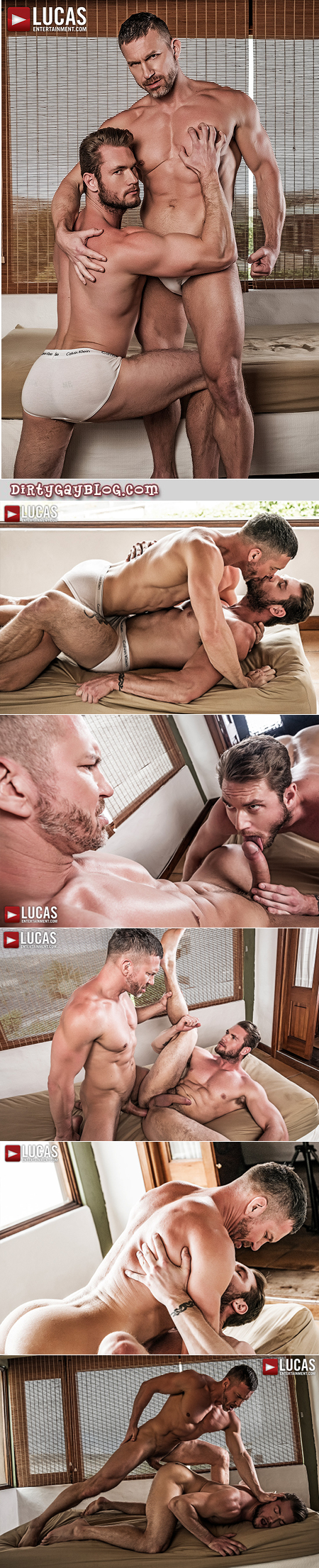 Muscular man in briefs gets fucked bareback by a muscular silver Daddy.