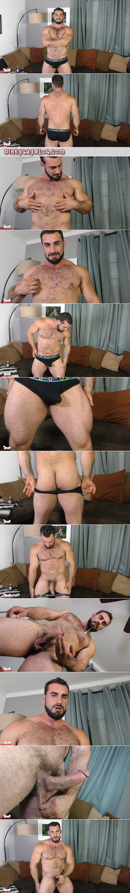 Hairy muscle hunk Jaxton Wheeler in black briefs with an erection.