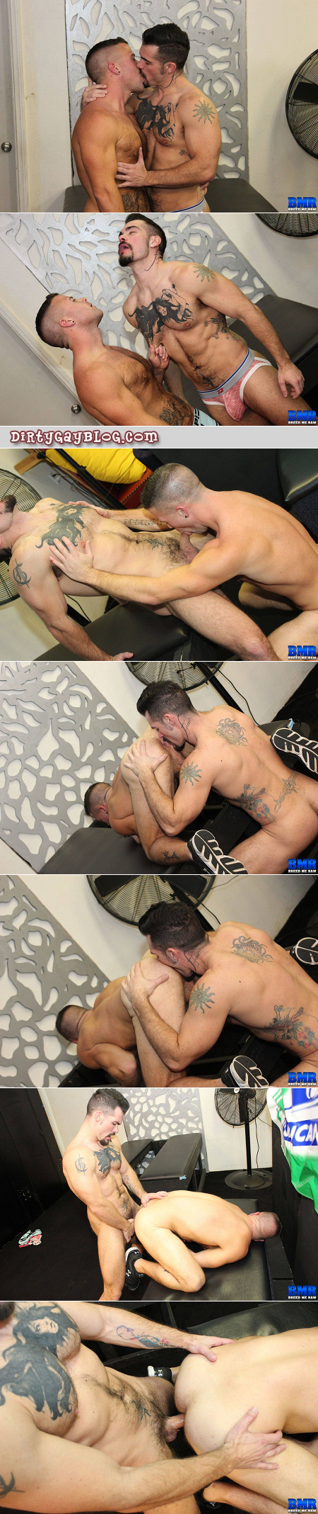 Hairy inked muscle stud fucking another young man bareback.