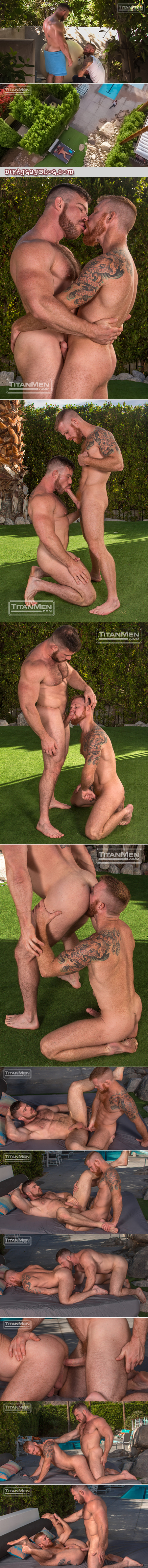 Ginger pool boy servicing his hairy muscular customer.