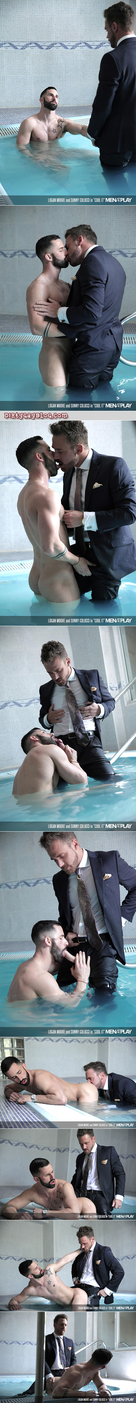 Bearded stud in a business suit climbs into a Jacuzzi fully clothed so he can fuck a hunk in there.