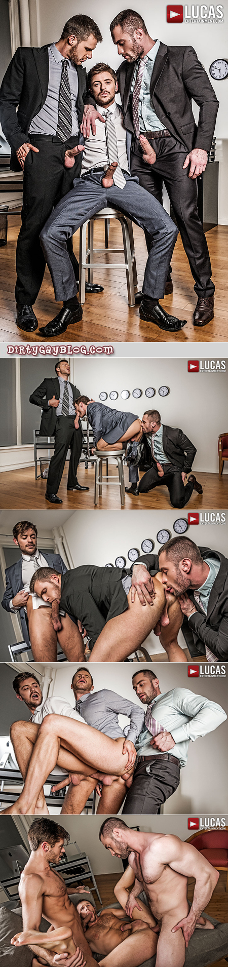 Three men in suits fucking each other bareback.