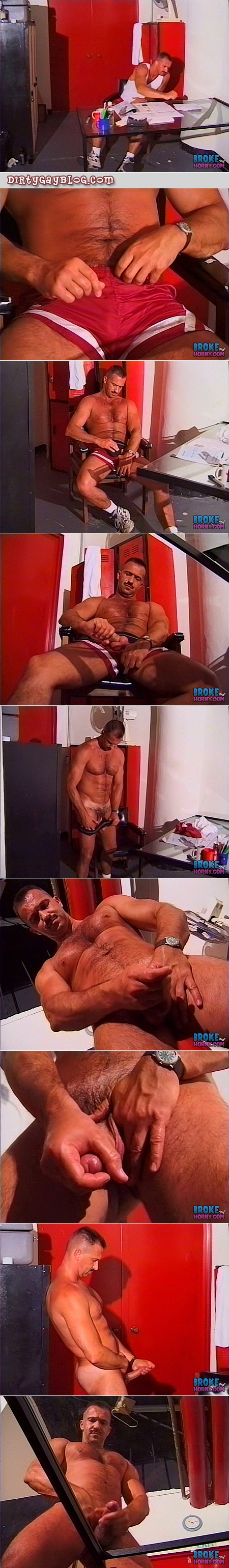 Muscular Coach jacking off in his locker room office.