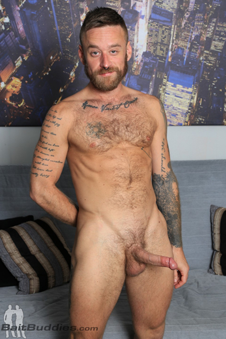 Bearded, hairy, tattooed muscle cub Hoytt Walker.