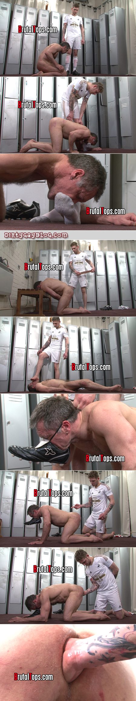 Dom jock punishes a sub muscle Daddy by making him lick his feet and fisting his arse.