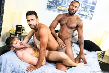 Hung gay interracial three way.