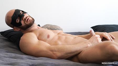 Hung, uncut muscle stud masturbating.