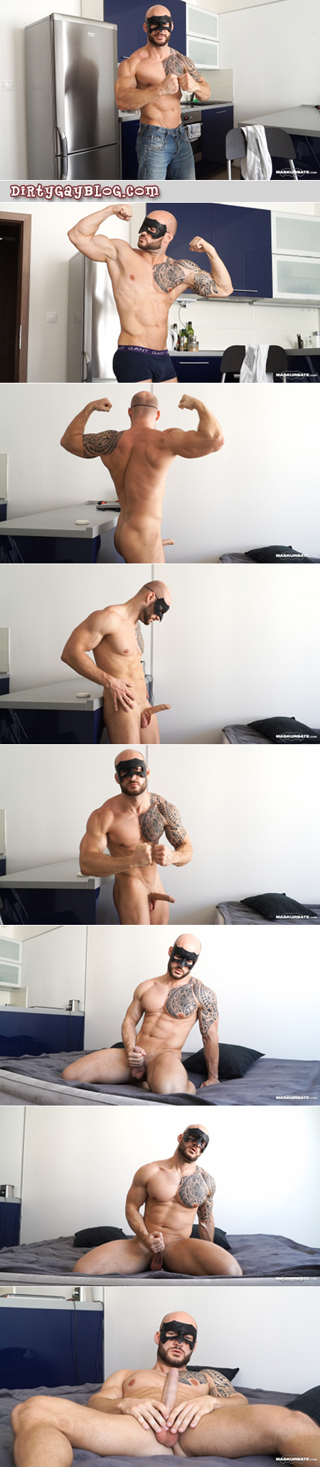 Hung uncut Frenchman bodybuilder nude with an erection.