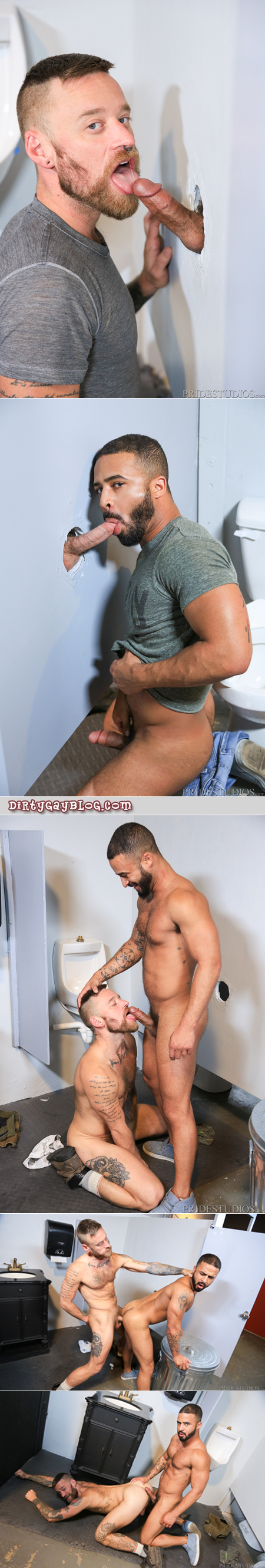 Interracial gay flip-fucking at a glory hole bathroom.