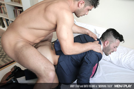 Spanish businessman being fucked in his suit by a hung, muscular stud.