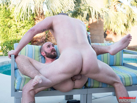Bareback gay sex by the pool.