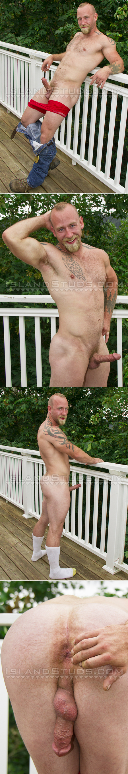 Hairy muscle stud sports his big erection on the deck and spreads his butt cheeks, exposing his hole.