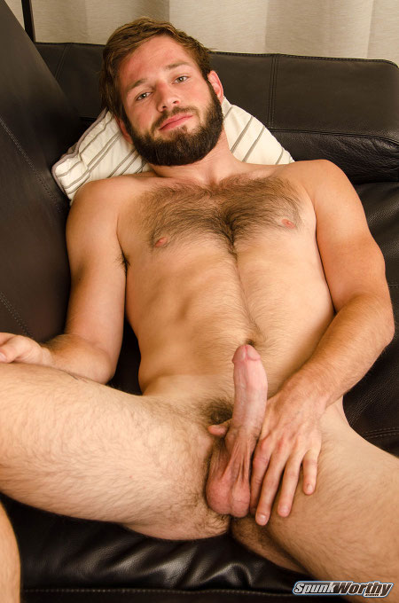 Bearded, hairy muscle cub sporting a hard-on.