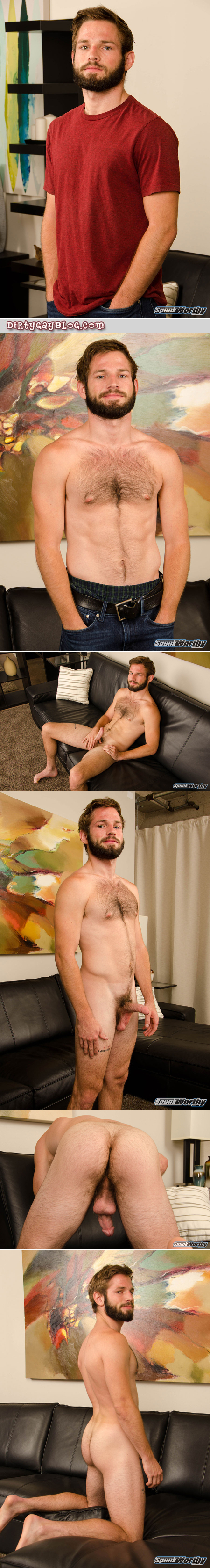Hairy muscle cub strips naked and gets an erection.