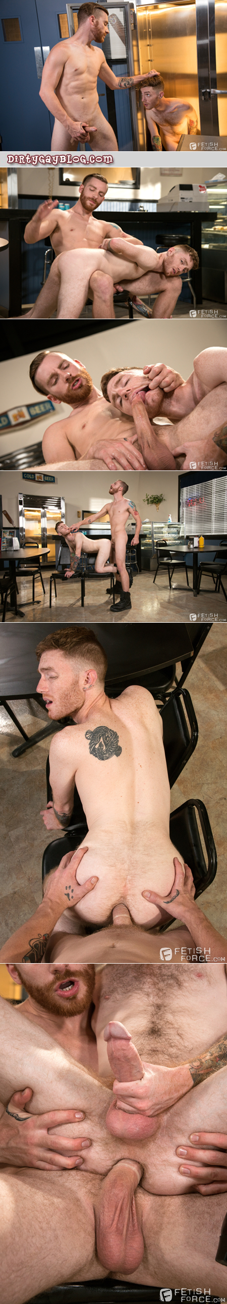 Ginger dom spanks and fucks his redhead male employee.