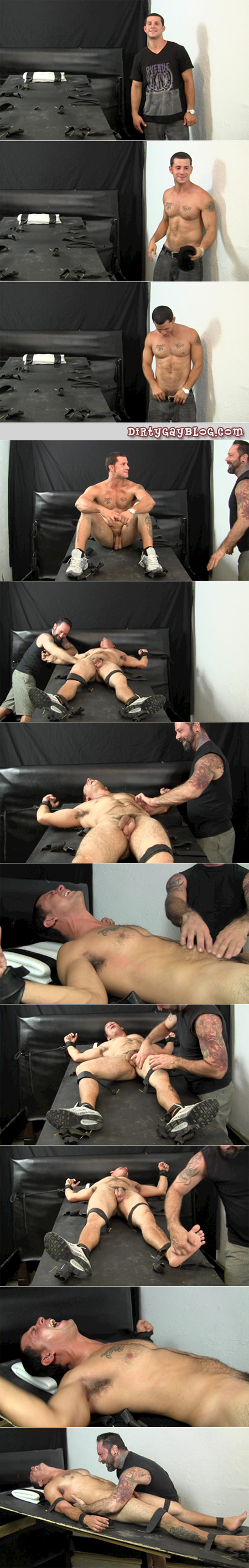 Hairy Daddy ties up a muscular Latino in gay bondage and tickle tortures him.