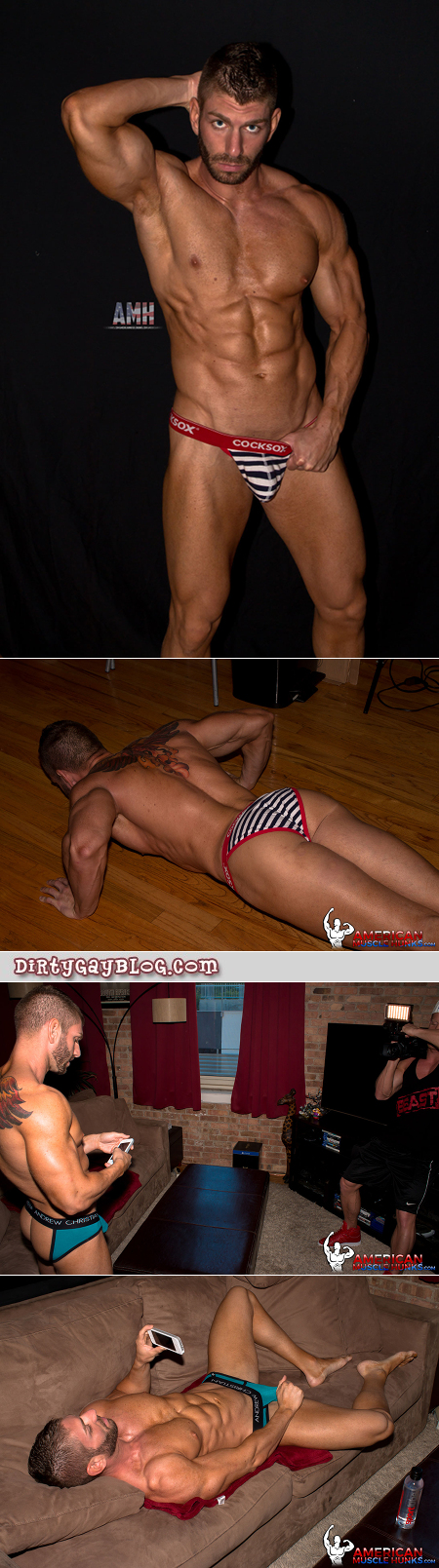Tan, tattooed muscle stud modeling underwear and his physique.