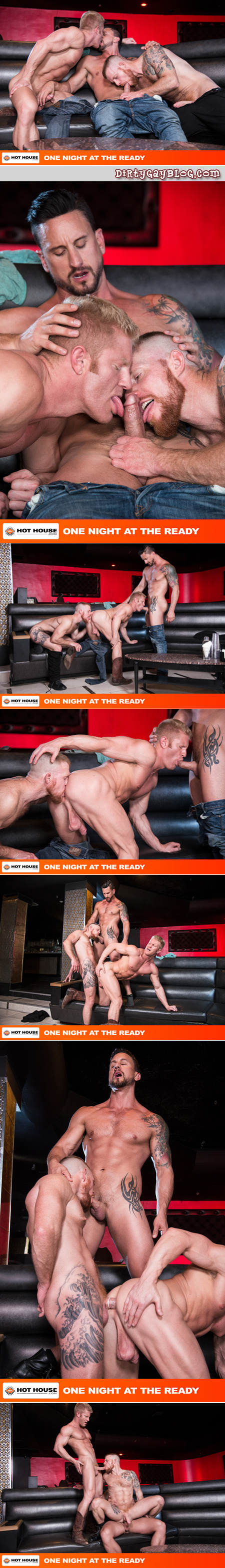 Muscular, tattooed studs having a gay sex threeway with a cowboy.