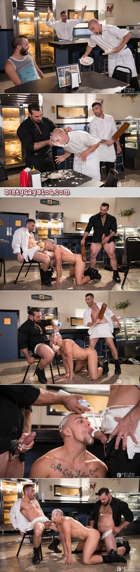 Two gay muscle hunks humiliate a third guy and spit-roast him.