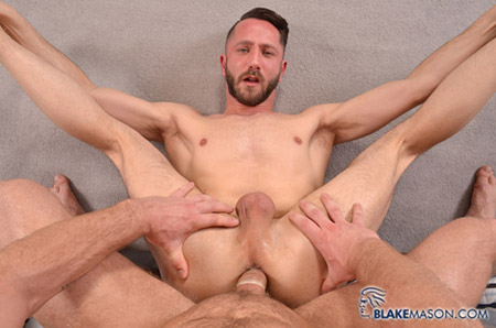 Gay bearded yogi getting fucked upside-down.