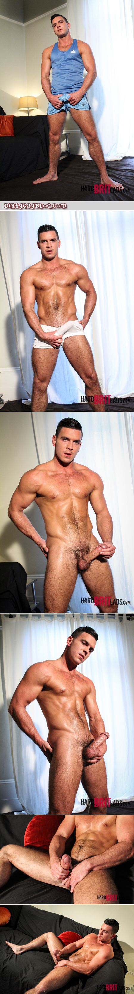 Hairy, muscular male athlete getting naked and masturbating.
