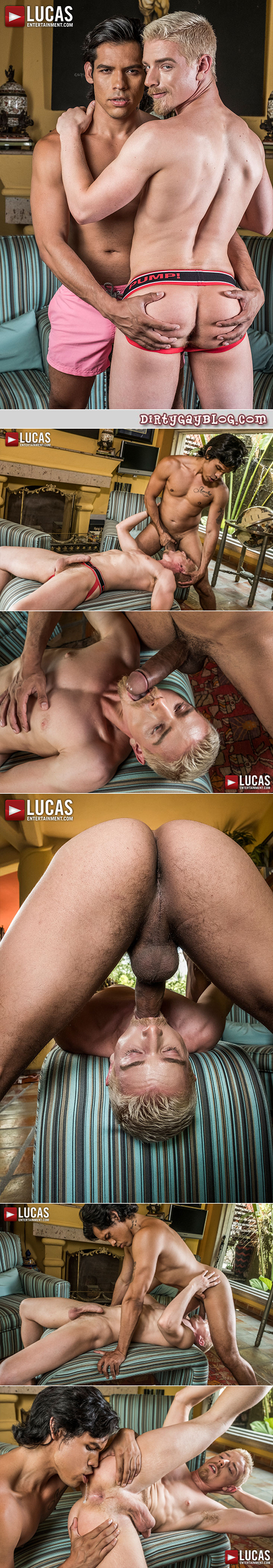 Blonde power bottom sucking big Latin dick and being fucked bareback.