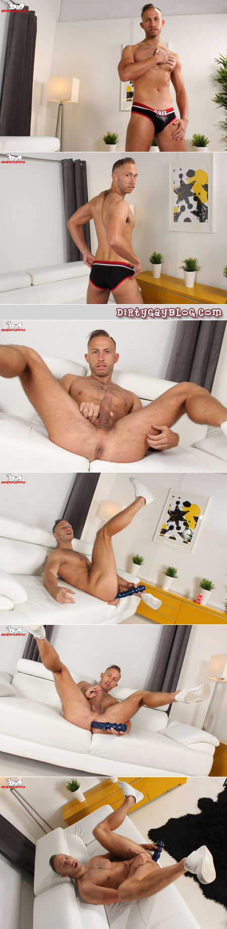 Hairy British lad fucking himself with an enormous dildo.