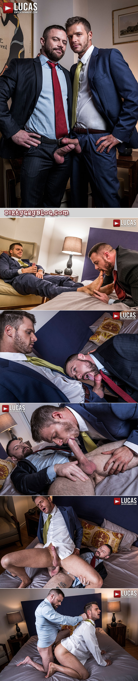 Muscular business having sweaty gay sex in a hotel room.