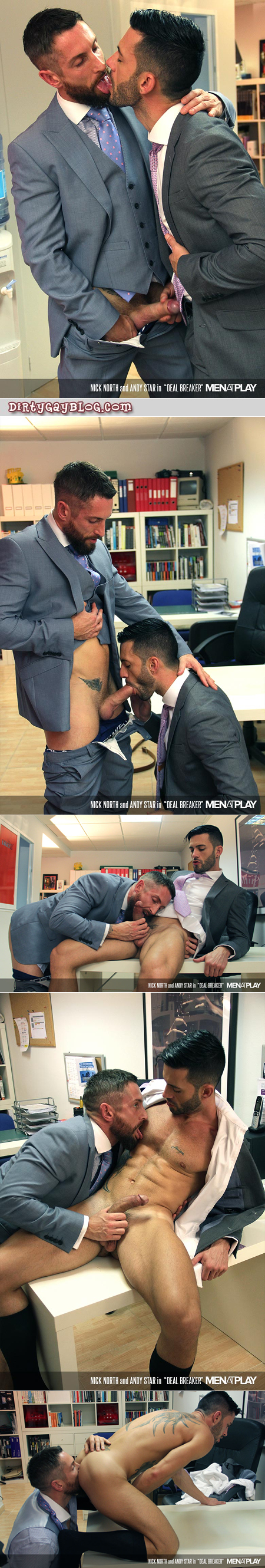 Muscular men in suits having gay sex at the office.