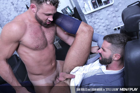 Hunky businessmen in OTC sheer socks getting fucked by his muscular male barber.