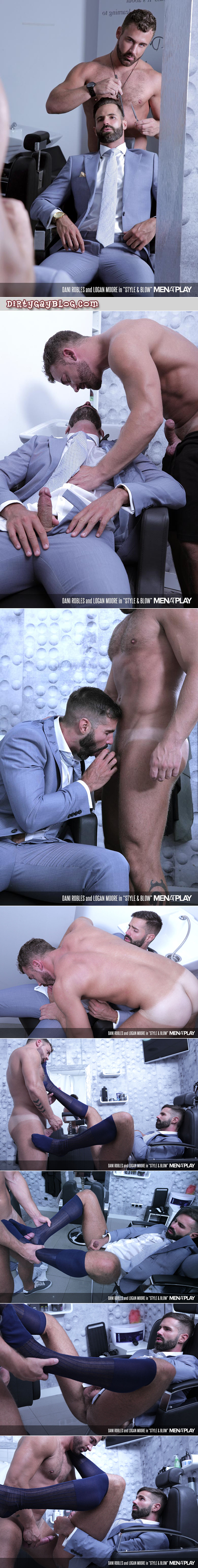 Hairy businessman getting fucking by his hunky barber.