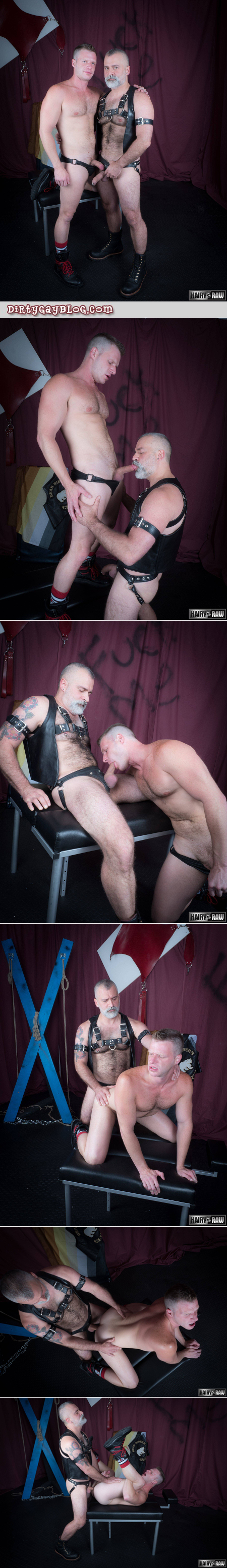 Leather Daddy fucking his boy bareback.
