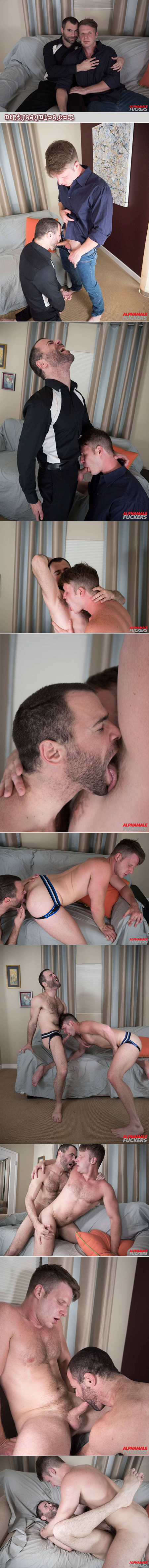 Hairy gay men flip-fucking bareback.