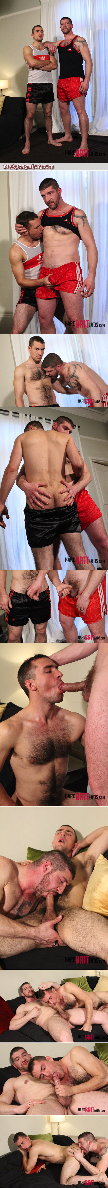Hairy, muscular jocks swapping gay blowjobs.