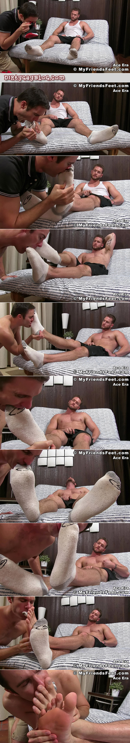 Bearded muscle hunk having his feet worshiped by another man.