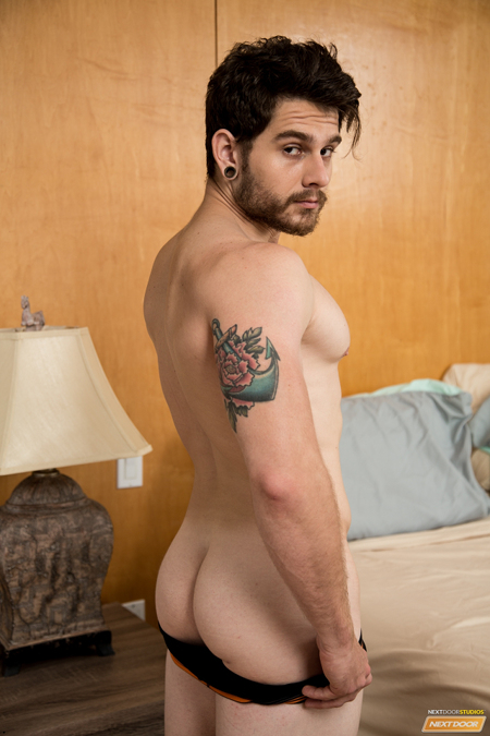 Gay for pay porn star Matty Strong showing off his beautiful butt.