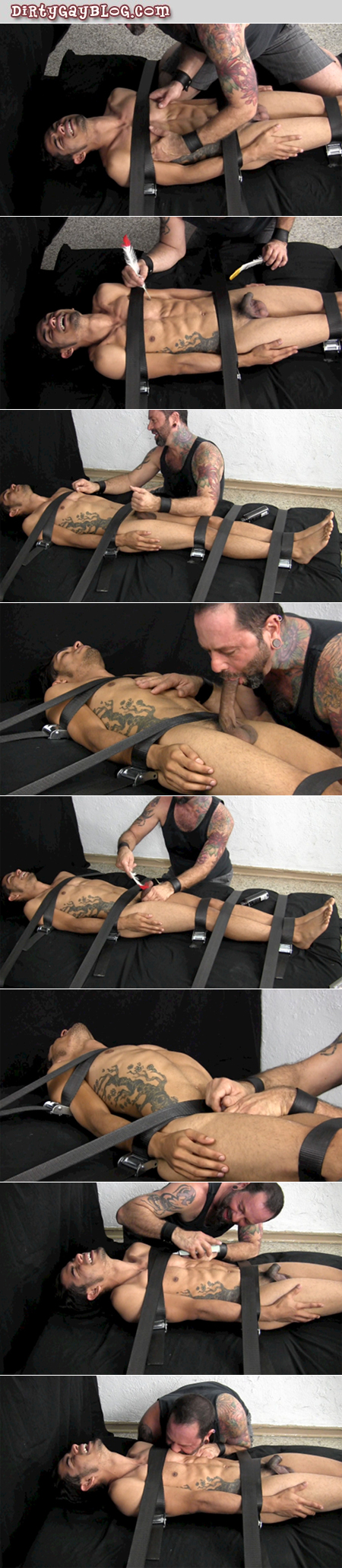 Tattooed straight twink is in gay bondage and tickled with a gay blowjob.