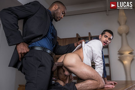 Handsome office hunk on his knees taking an enormous black dick in his ass bareback.