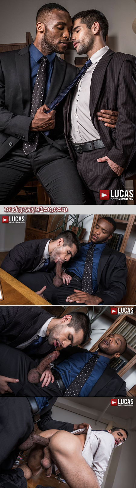 Handsome young office worker fucked bareback by his black boss and his enormous cock.
