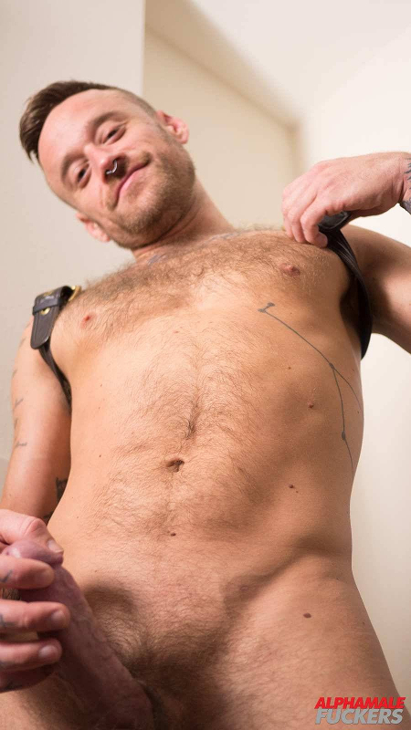 Hairy hunk in a leather harness stroking his hard cock.